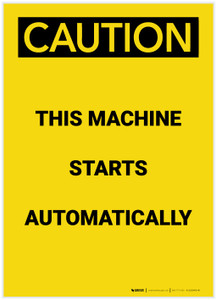 Caution: Machine Starts Authomatically Portrait - Label