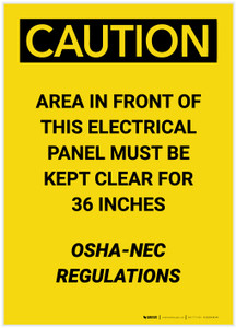 Caution: NEC Regulations Keep Clear of Electrical Panel Portrait - Label