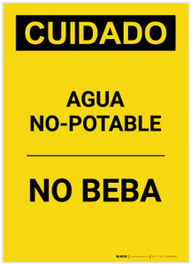 Caution: Non Potable Water Do Not Drink Spanish Portrait - Label