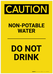 Caution: Non-Potable Water Do Not Drink Portrait - Label