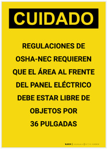 Caution: OSHA NEC Regulations Requires Spanish Portrait - Label