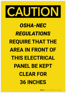 Caution: OSHA NEC Require Electrical Panel Kept Clear 36 Inches Portrait - Label
