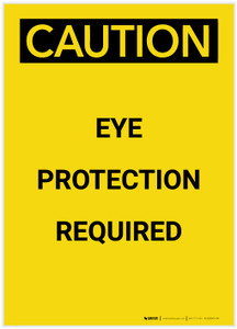 Caution: PPE Eye Protection Required Portrait - Label