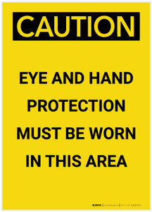Caution: PPE Eye and Ear Protection Must be Worn in Area Portrait - Label