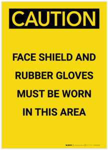 Caution: PPE Face Shield and Gloves Must Be Worn in Area Portrait - Label
