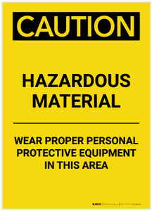Caution: PPE Hazardous Material Wear PPE in This Area Portrait - Label