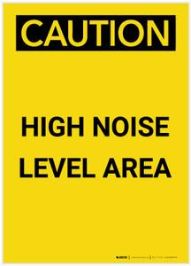 Caution: PPE High Noise Level Area Portrait - Label