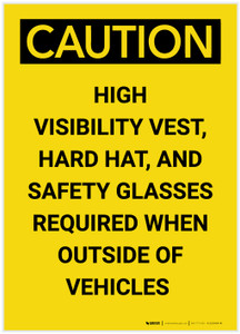 Caution: PPE Required Outside Vehicles Portrait - Label