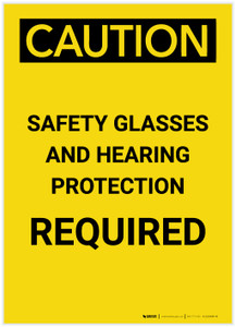 Caution: PPE Safety Glasses and Hearing Protection Required Portrait - Label