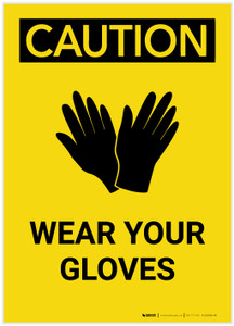 Caution: PPE Wear Your Gloves With Graphic Portrait - Label