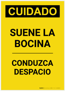 Caution: Sound Horn Spanish Portrait - Label