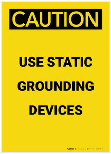 Caution: Use Static Grounding Devices Portrait - Label