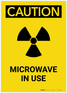 Caution: Warning Microwave In Use Radiation Portrait - Label