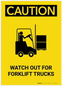 Caution: Watch Out For Forklift Trucks with Graphic Portrait - Label