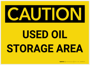 Caution: Used oil Storage Area Landscape - Label