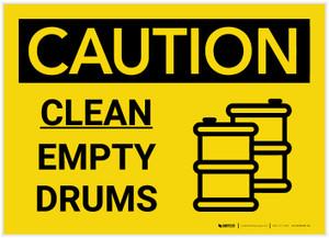 Caution: Clean Empty Drums Landscape with Icon - Label
