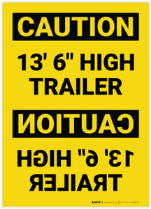 "Caution: 13'6"" High Trailer Mirrored - Label"