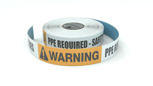 Warning: PPE Required Safety Glasses And Steel Toes - Inline Printed Floor Marking Tape
