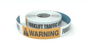 Warning: Forklift Traffic Look Both Ways! - Inline Printed Floor Marking Tape