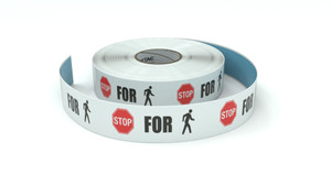 Traffic: Stop For Pedestrians Icon Horizontal - Inline Printed Floor Marking Tape