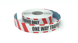 Restricted Area: One Way Traffic Only - Inline Printed Floor Marking Tape