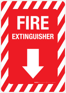 Fire Extinguisher Arrow Down - Label