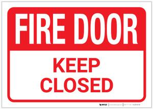Fire Door/Keep Closed - Label