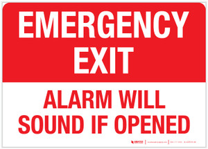 Emergency Exit - Alarm Will Sound if Opened - Label