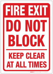 Fire Exit - Do Not Block/Keep Clear at All Times - Label