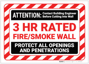 Attention Fire Smoke Wall with Hazard Border Landscape - Label