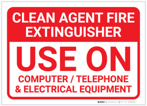 Clean Agent Fire Extinguisher Landscape - Label