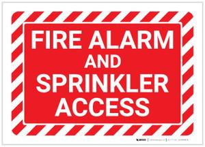 Fire Alarm And Sprinkler Access with Hazard Border Landscape - Label