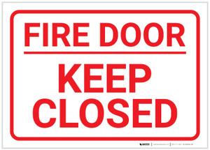 Fire Door/Keep Closed White Landscape - Label