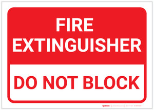 Fire Extinguisher/Do Not Block Landscape - Label