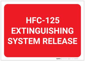 HFC 125 Extinguishing System Release Landscape - Label