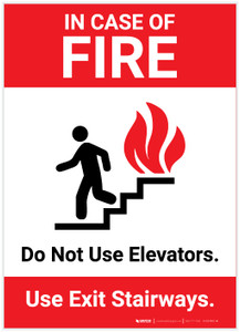 In Case Of Fire Do Not Use Elevators with Icon Portrait - Label