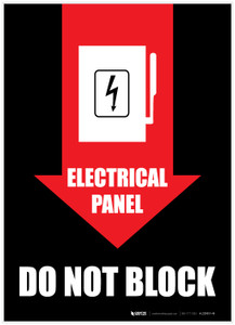 Electrical Panel Do Not Block/Arrow Down - Label