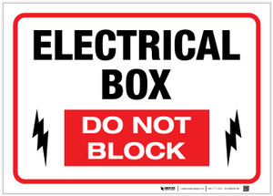 Electrical Box - Do Not Block - Label
