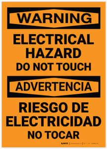 Warning: Electrical Hazard - Do Not Touch Bilingual Spanish - Label