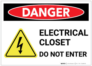 Danger: Electrical Closet Do Not Enter With Graphic - Label