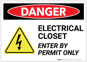 Danger: Electrical Closet Enter By Permit Only With Graphic - Label