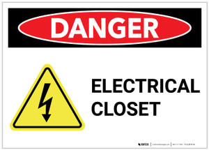 Danger: Electrical Closet with Hazard Icon - Label
