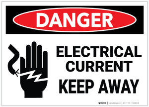 Danger: Electrical Current Keep Away with Icon - Label