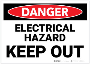 Danger: Electrical Hazard - Keep Out - Label