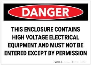 Danger: This Enclosure Contians High Voltage Electrical Equipment - Label