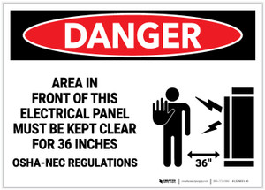 Danger: Area in Front of Electrical Panel Keep Clear for 36 Inches - Label