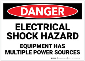 Danger: Electrical Shock Hazard - Equipment Has Multiple Power Sources - Label