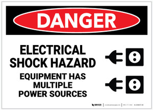 Danger: Electrical Shock Hazard - Equipment has Multiple Power Sources with Graphic - Label