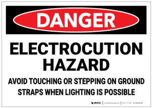 Danger: Electrocution Hazard - Avoid Touching/Stepping on Ground Straps - Label