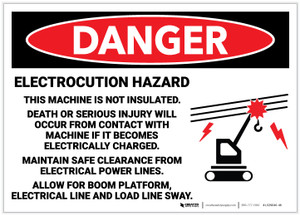 Danger: Electrocution Hazard - This Machine is Not Insulated with Graphic - Label